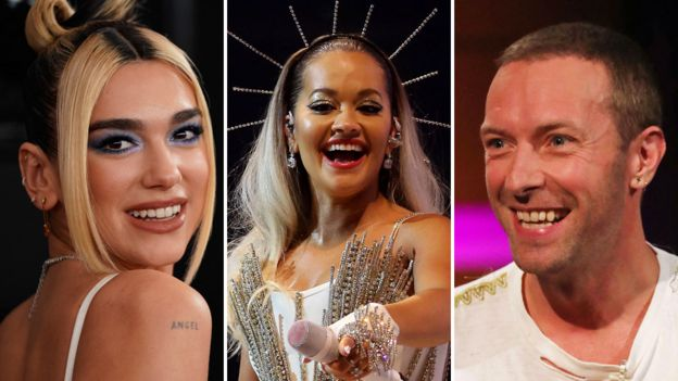 Dua Lipa, Rita Ora and Chris Martin