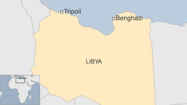 Map of Libya showing Benghazi - July 2016