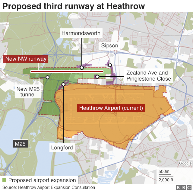 Map of Heathrow airport showing expansion area