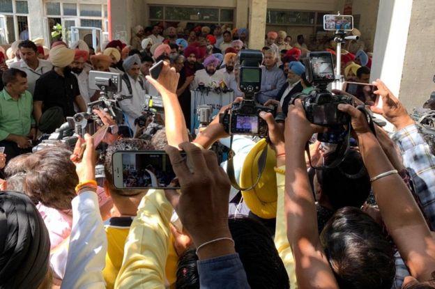 Punjab chief minister Amarinder Singh speaking to the press
