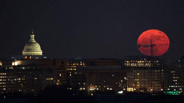 Superlua de sangue em dezembro de 2017 em Washington