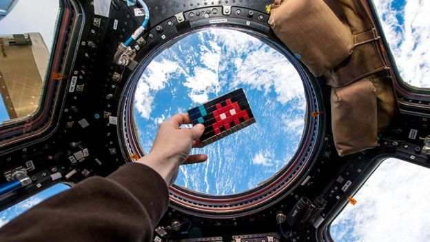 Invader art on the International Space Station, image released 11 March 2015