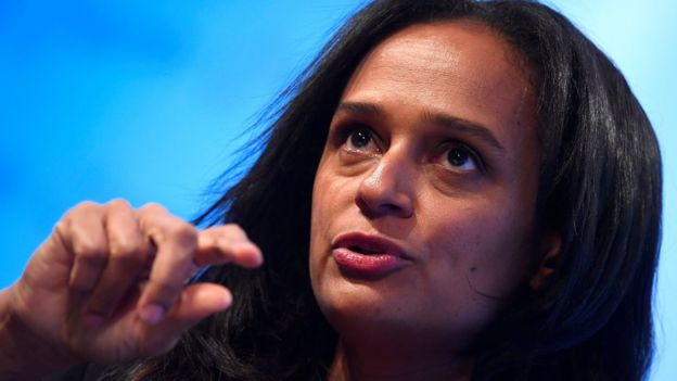 Isabel dos Santos speaks during a Reuters Newsmaker event in London, 18 October 2017