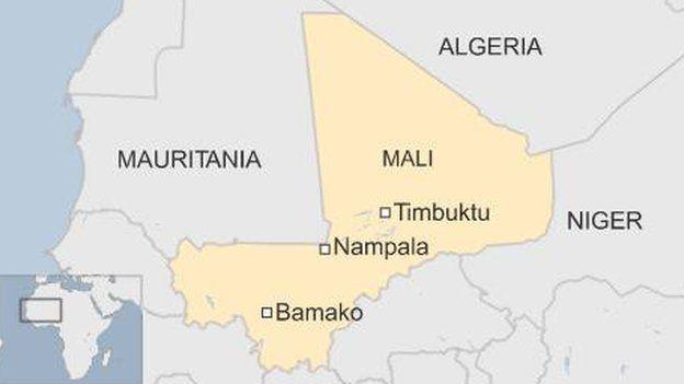 map of Mali showing location of Bamako, Timbuktu and Nampala