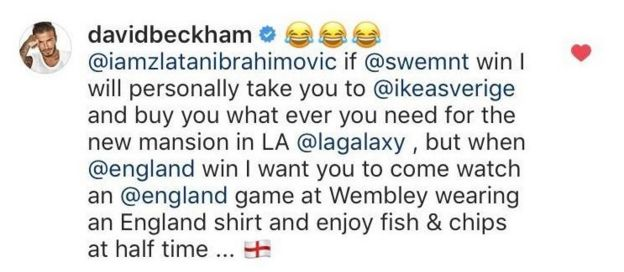 Manchester United and England winger David Beckham responded to Ibrahimovic.