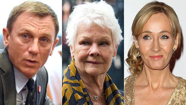 Daniel Craig, Dame Judi Dench and JK Rowling
