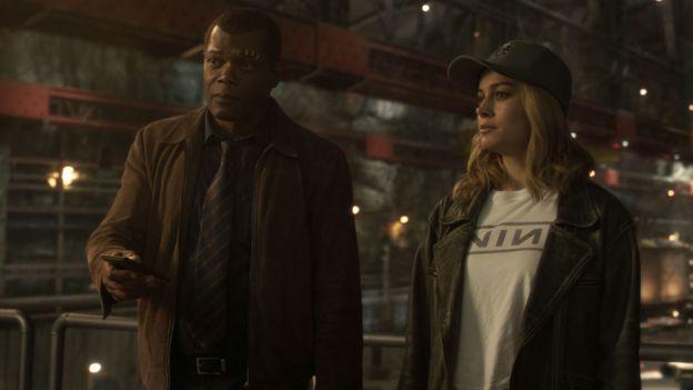 Samuel L Jackson and Brie Larson in Captain Marvel
