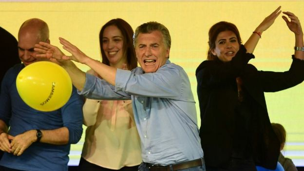Mauricio Macri celebra su victoria