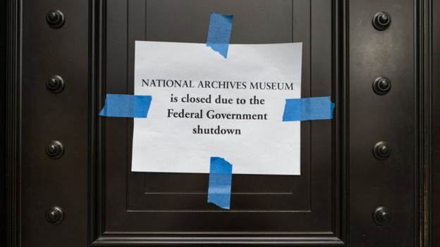 Shutdown notice on the US national archive museum