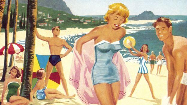 Personas en la playa, ilustración