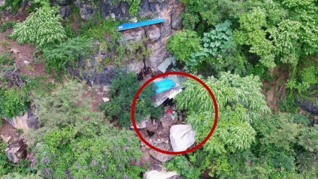 Aerial shot of the cave entrance