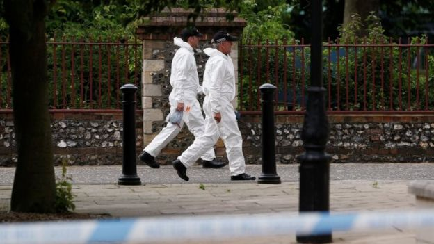 Police officers in forensic suits walk along the park