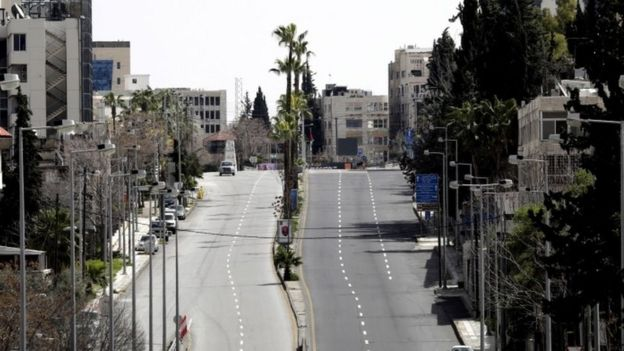 The streets of Amman were deserted as the curfew was announced on Monday
