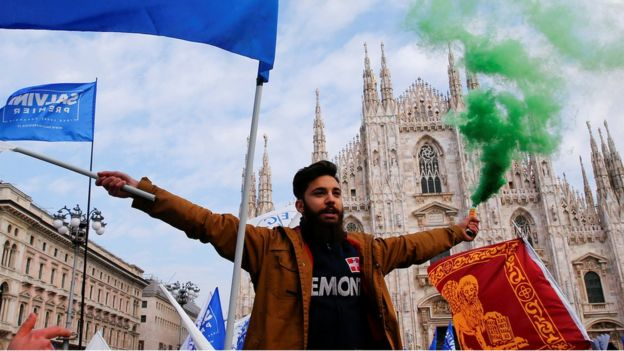 Supporters of Italy's The League at a rally led by leader Matteo Salvini in Milan, 24 February 2018