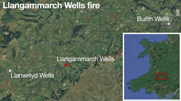 A map showing the location of Llangammarch Wells