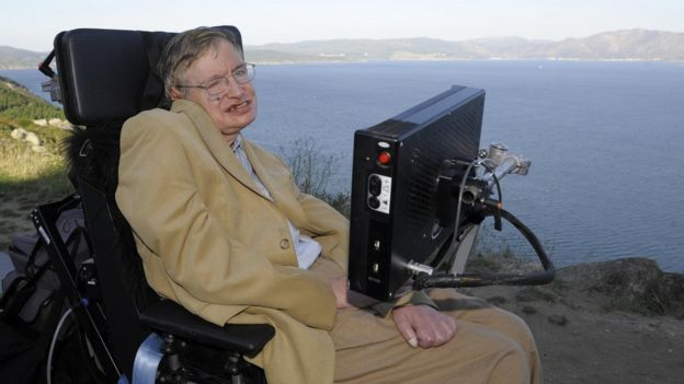 Professor Stephen Hawking is pictured during a visit to Cape Finisterre, some 90 km from Santiago, northwestern Spain on 25 September 2008