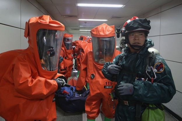 Emergency services personnel wearing protective clothing participate in an anti-terror and anti-chemical terror exercise as part of the 2016 Ulchi Freedom Guardian (UFG) at Yeoui subway station on August 23, 2016 in Seoul, South Korea.