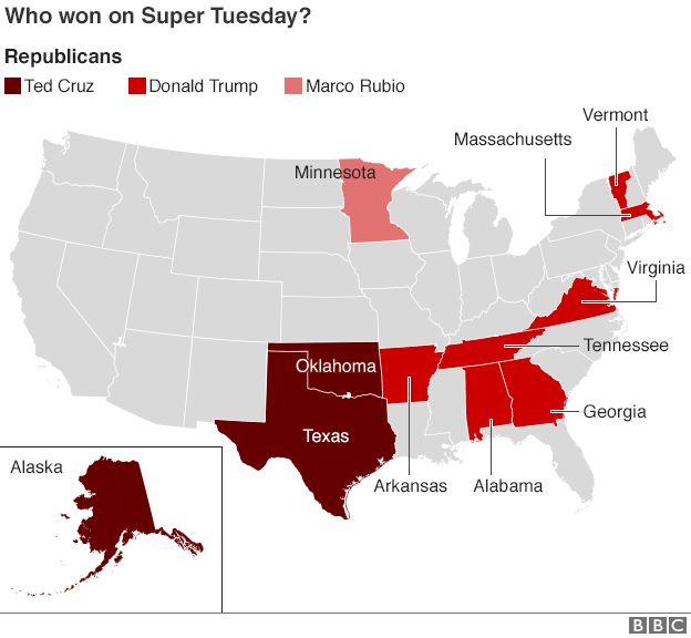 Map Showing Breakdown Of Democrat Results On Super Tuesday