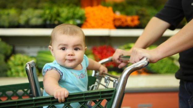 Criança em carrinho de supermercado