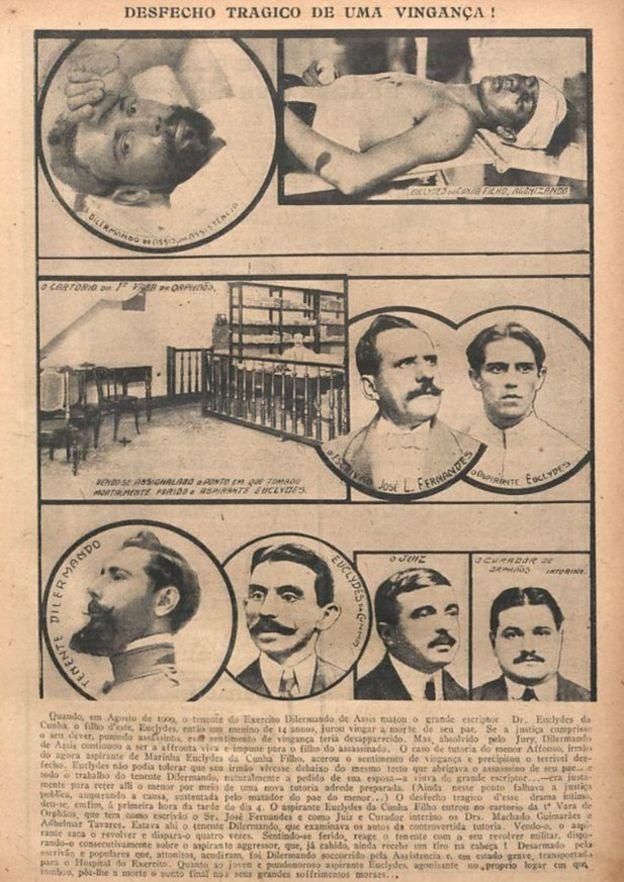 """A morte de Euclides da Cunha Filho retratada na revista """"O Malho"""", em julho de 1916"""