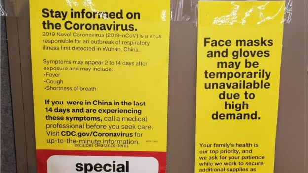 Coronavirus warnings at a pharmacy in California