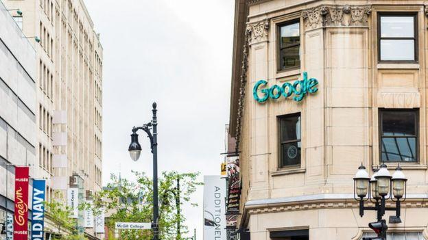 La sede de Google en una ciudad de la provincia de Quebec, Canadá.