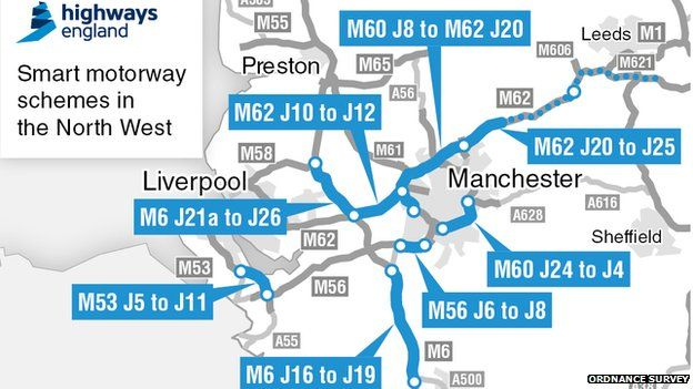 Motorway Map Of England.New Smart Motorway Projects Planned For North West Bbc News