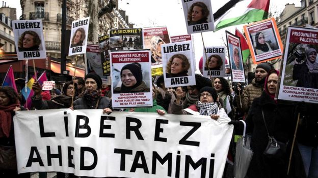 Protesters in Paris demand the release of Ahed Tamimi and her family (8 March 2018)