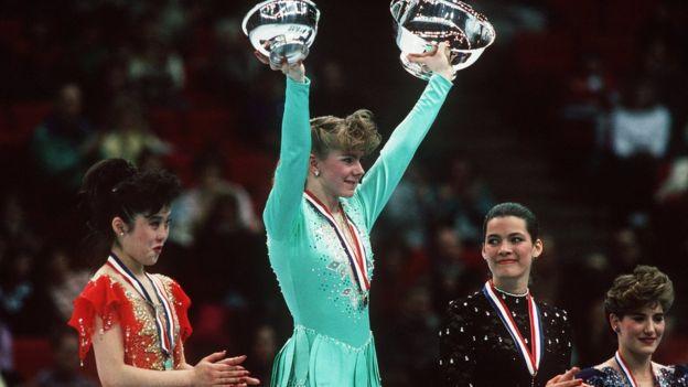 Harding y Kerrigan en un podio en 1991