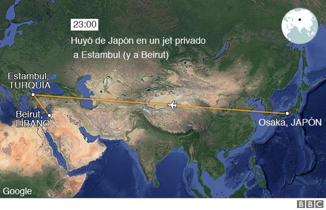 Mapa huída de Ghosn