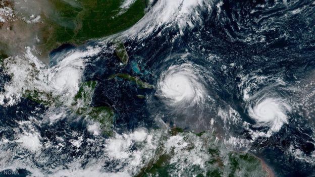 Furacões Irma, Jose e Katia no Caribe, vistos do céu