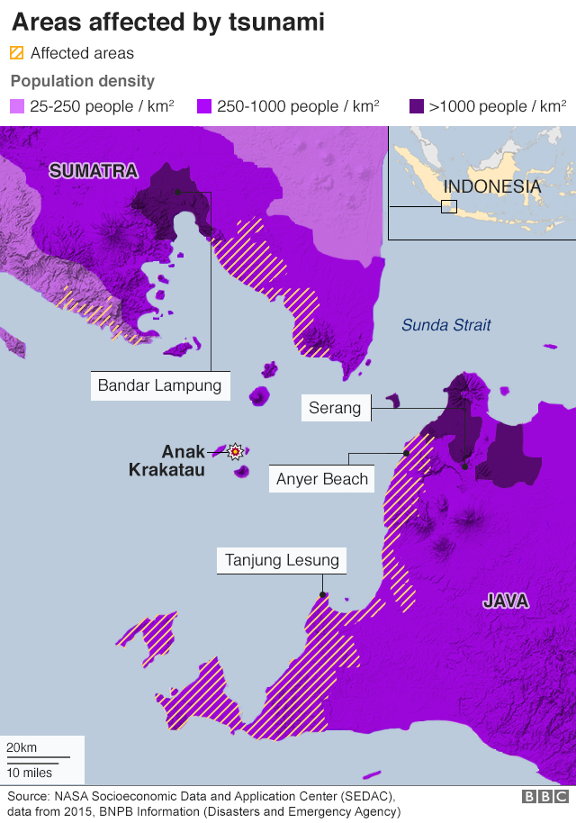 Map showing areas affected by tsunami and population density