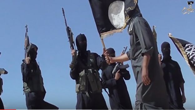 Screen grab from the video posted by Jund al-Islam