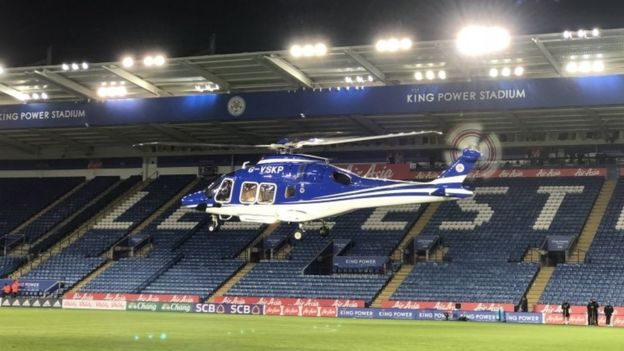 The helicopter shortly before taking off this evening