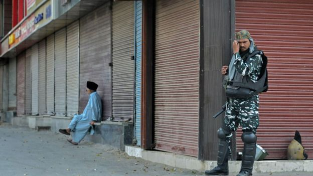 A Paramilitary trooper stands on guard during the shutdown in Srinagar. Kashmir valley remains shutdown for the 55th consecutive day following the scrapping of Article 370 by the central government which grants special status to Jammu & Kashmir