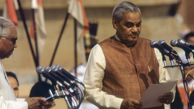 Atal Bihari Vajpayee swearing-in as Prime Minister by President KR Narayanan at Rashtrapathi Bhawan