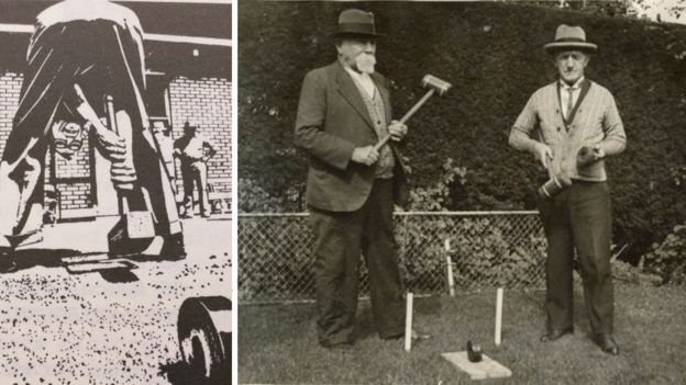 Un afiche promocional de trugo y dos hombres practicando el deporte en 1939.