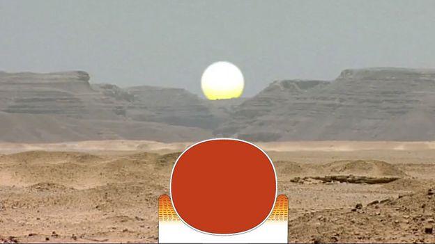 Sol se pondo entre colinas e formando o símbolo do horizonte