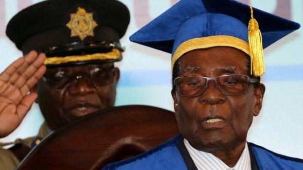 Zimbabwe President Robert Mugabe attends a university graduation ceremony in Harare, Zimbabwe, November 17, 2017