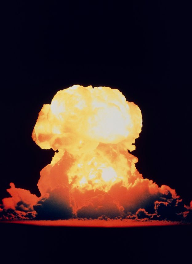 Fireball resulting from the test detonation of a hydrogen bomb at Bikini Atoll on May 21, 1956