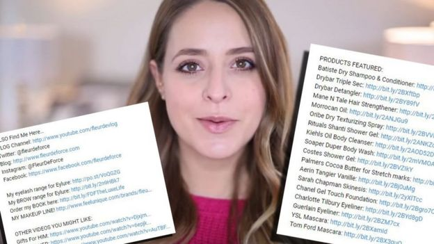 Fleur De Force links from her videos to places online where viewers can buy the products she is endorsing