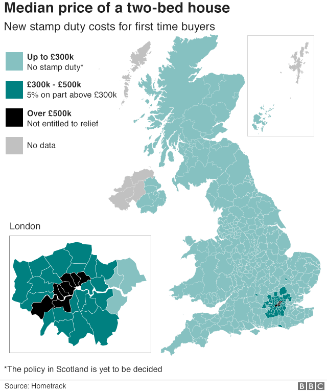 Map of median two-bed house prices in the UK