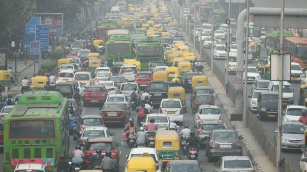 A traffic jam in India