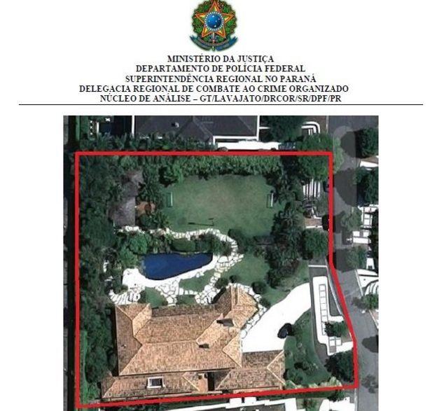 Vista aérea de la casa de Marcelo Odebrecht (Foto: Policía Federal de Brasil)