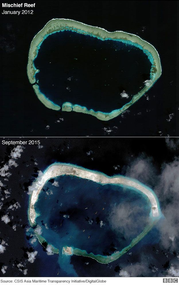 Satellite photography showing development at Mischief Reef