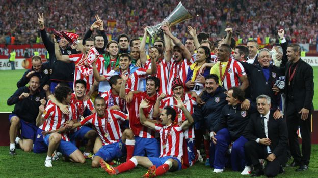 Atlético de Madrid en la final de 2012.