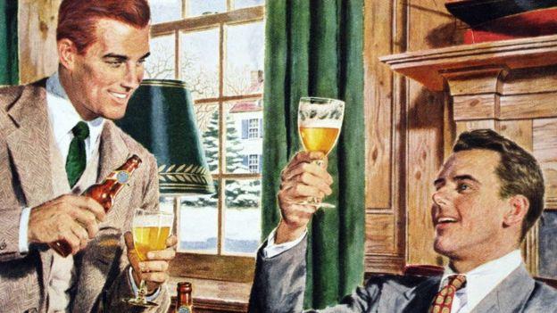 Ilustração de dois homens bebendo cerveja