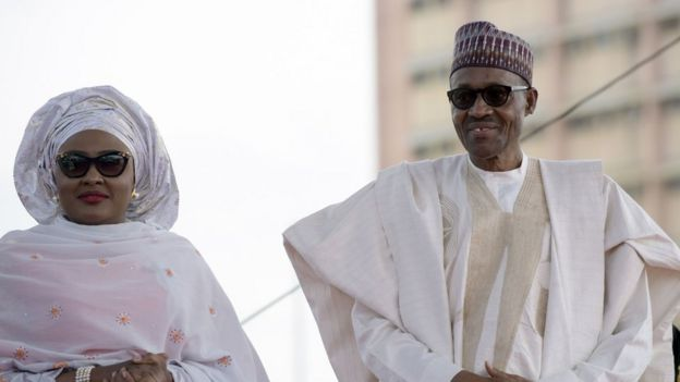 Aisha Buhari and Preseident Muhammadu Buhari at his inauguration