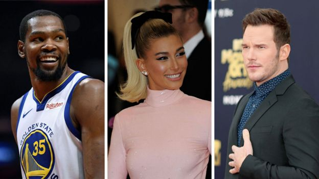 Kevin Durant, Hailey Baldwin y Chris Pratt