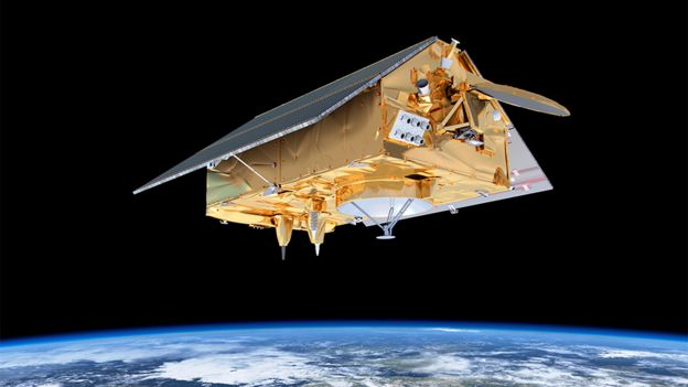 Sentinel-6 satellite mock-up in space